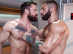Bearded muscle guys love anal fucking