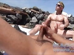 Double Wank on beach