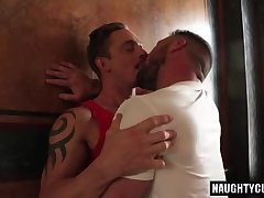 Tattoo boy double dildo and cumshot