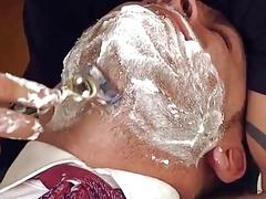 Stud's stylist gives him a shave and then fucks his ass at the office
