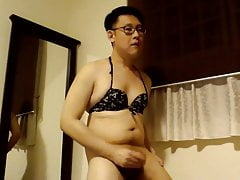 Asian Sissy in bikini jerks off  (small cock and sexy bod)