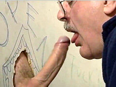 cool silver haired moustached father deepthroats cum at the gloryhole