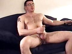 Ex-military hunk readies his erection for a blowjob
