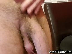 Young stud wanking off his mega cock in closeup
