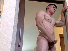 ActiveDuty Fit Army Beefcake masturbates His penis