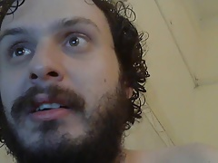 Bearded chubby dreaming and eating his own cum