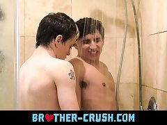 Male siblings suck and fuck in warm shower