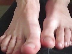 Footjob by young boy