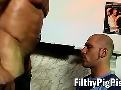 Piss boy anally smashed with giant black dildo and hard cock
