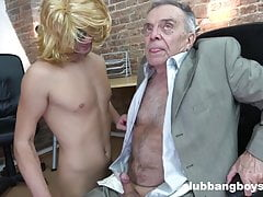 Young boy sucks grandpa's little cock and inserts dildo