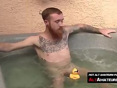Tattooed ginger twink ass licked and dick sucked by a homo