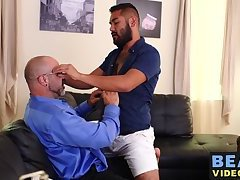 Burly bear sucking cock before barebacking hairy lover