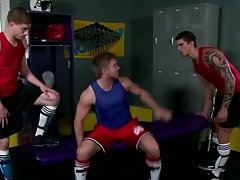Sporty jock sucks in locker room