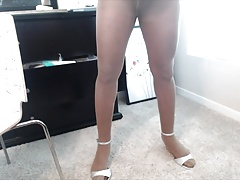 Stroking my cock in pantyhose (no cum) compilation
