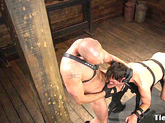 subjugated dude deep throating cock
