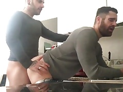 Hot fuck in kitchen