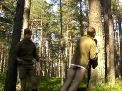 A homosexual officer punishes his buddy in the forest