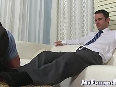 Hard working homo comes home and receives feet worshiping