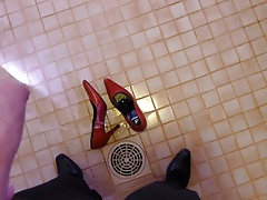 Piss in wifes red stiletto heels