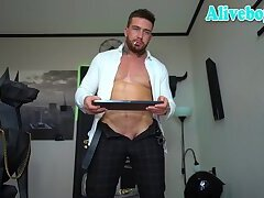 smoking guy shows off his sexy body on cam