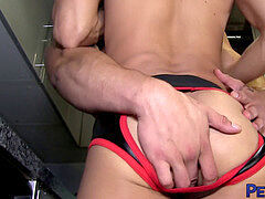 PETERFEVER asian David Ace peels off Jockstrap For without a condom