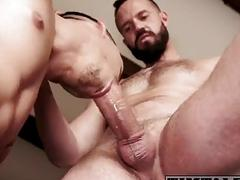 Two Brazilian guys fuck bareback with their massive dicks