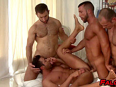 hard-core anal invasion foursome sex with muscular fellows