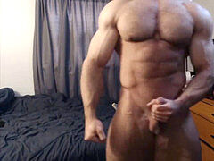 BUILT hairy MUSCLE guy WITH VEINS FLEXING AND tugging