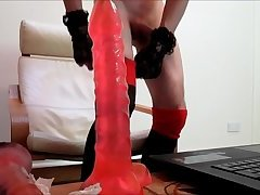 Sissy Faggot Playing With Dildos On cam