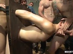 Tattoo gay bound with cumshot