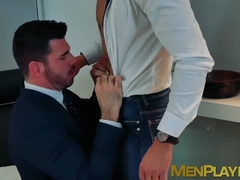 Deep anal sex for two men inside of their cubicle office