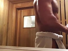 Muscular stud wanking in sauna