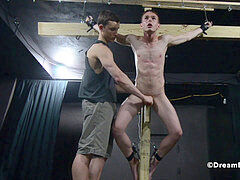 Crucified Twink Fucks Himself With Dildo - bondage & discipline gay restrain bondage
