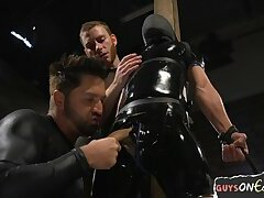 Gagged and restrained twink getting edged