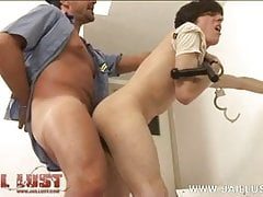 Dirty cop uses his truncheon and ass fucks a twink