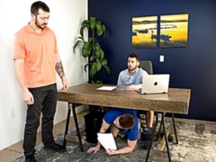 Gay office threesome with Mark Long, Chris Blades, and Johnny Hill