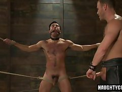 Hot gay bound with cumshot