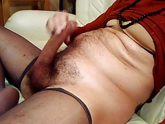 wanking and spritzen in grey nylons