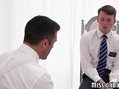 Young mormon jerks off while being fingered in ass by elder