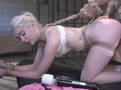 Blonde pumpkin adores getting tied up and fucked savagely