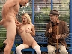 Petite blondie fucks JMac in front of her grandfather