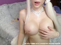 Blonde bimbo barbie doll masturbating