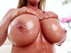 Oiled Asian hottie Kianna Dior is blowing two massive dicks