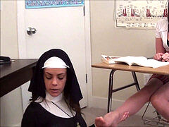 Nun adores Student's stockings feet