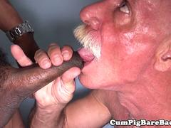 Interracial mature bears bareback fucking
