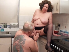 Older Couple Fornicate & He Pisses On Her Tits