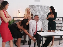 Luna Star, Bridgette B, Katana Kombat and Victoria June have sex with their boss