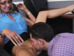 Boss Emma Starr makes employee work between her legs to keep his job