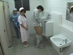 Asiatic Nurse And Cleaning Lady Patient Jack off