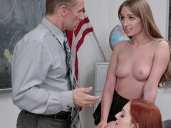 Randy teacher has two of his young students in a hot threesome